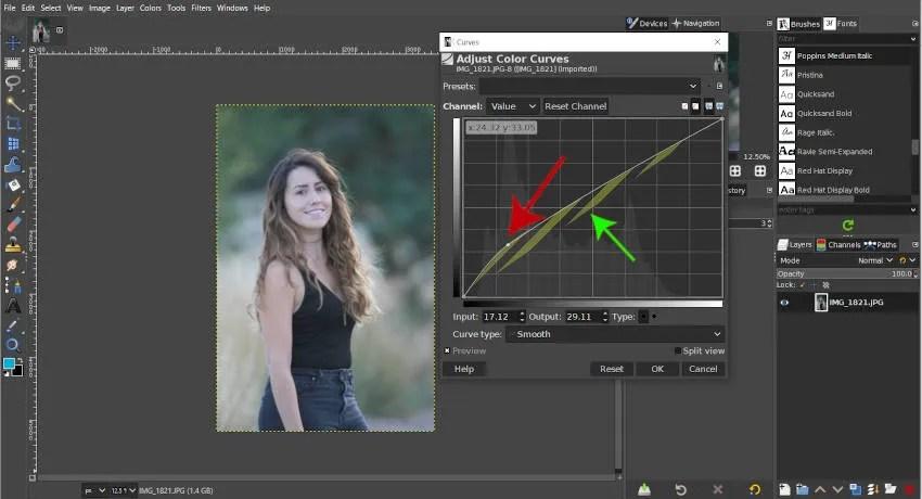 जिम्प घटता उपकरण के साथ छवि को हल्का बनाते हैं