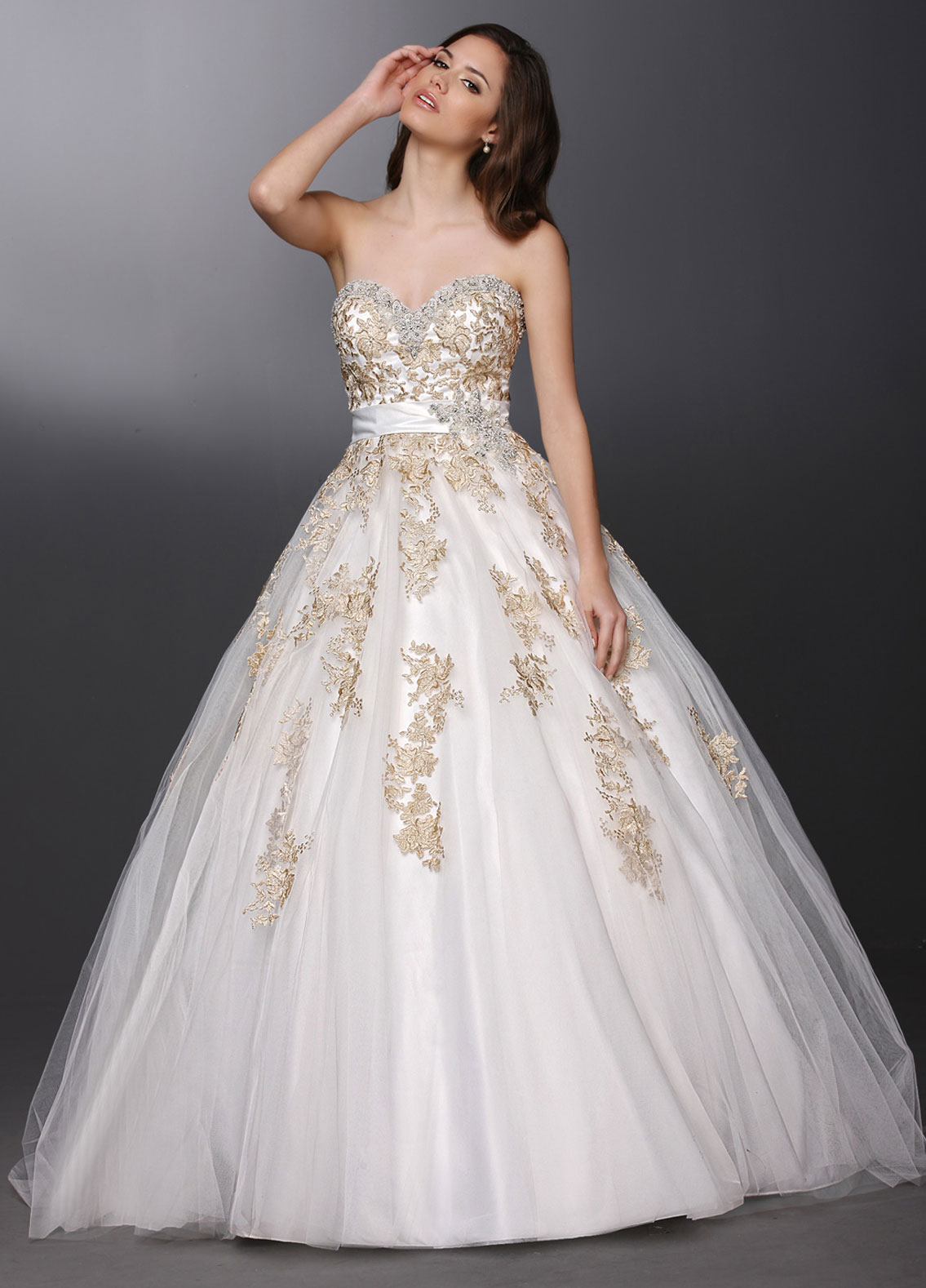 Gold and white short homecoming dress