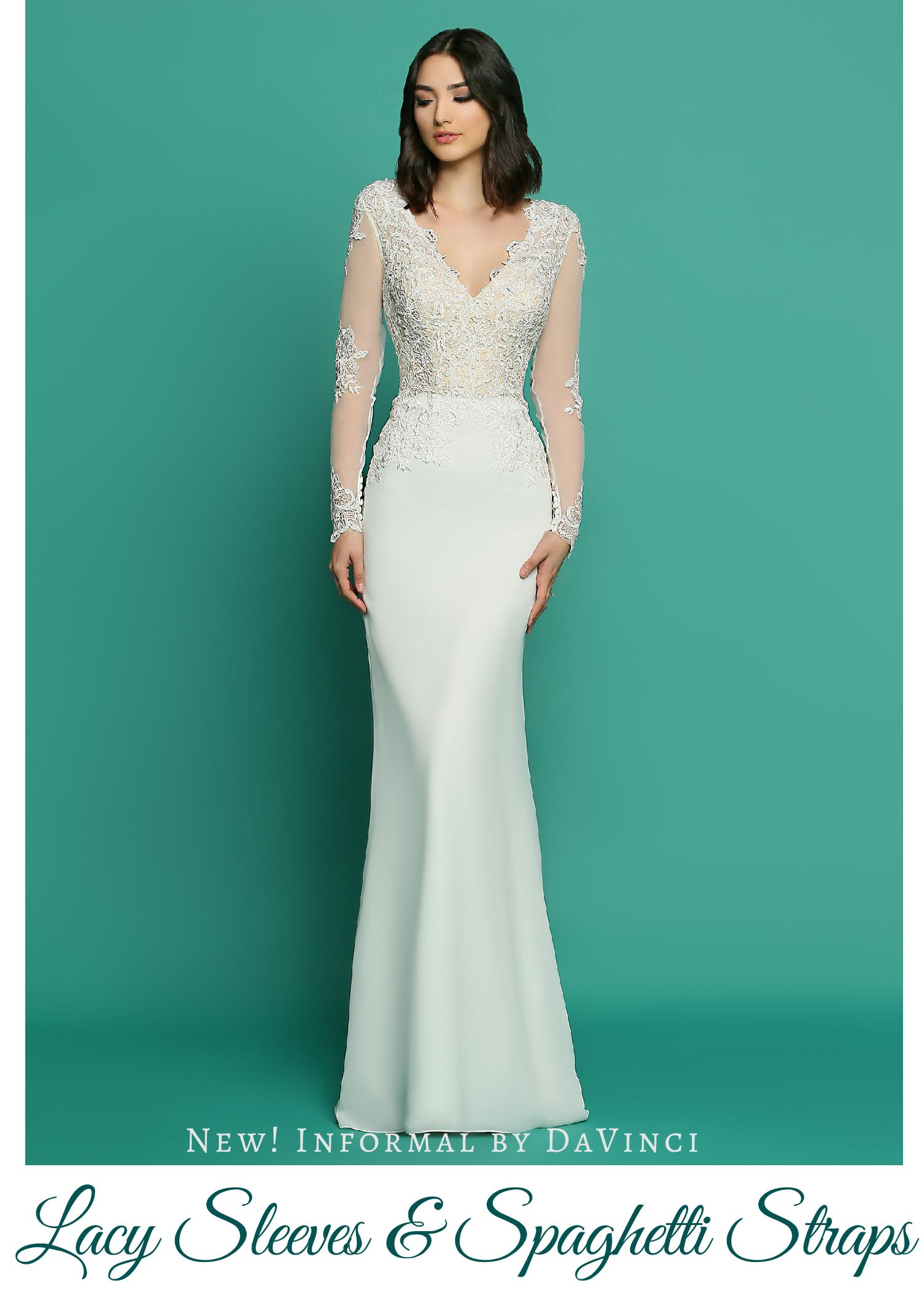 New! Wedding Dresses from Informal by DaVinci: Lacy Sleeves ...