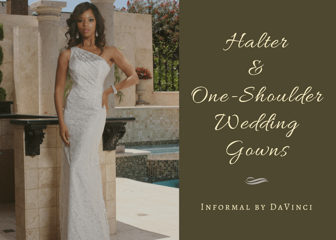 Halter & One Shoulder Wedding Gown