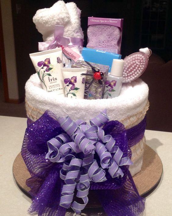 Lavender Bath Spa Bridal Shower Towel Cake