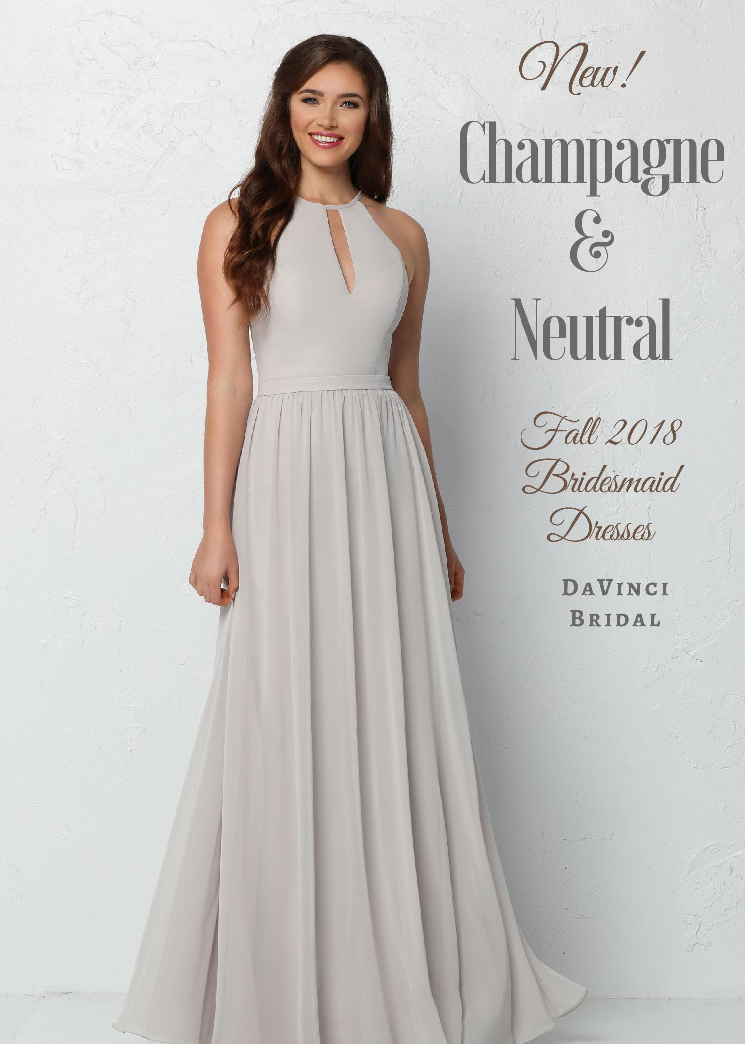 Long Champagne Color Bridesmaid Dress