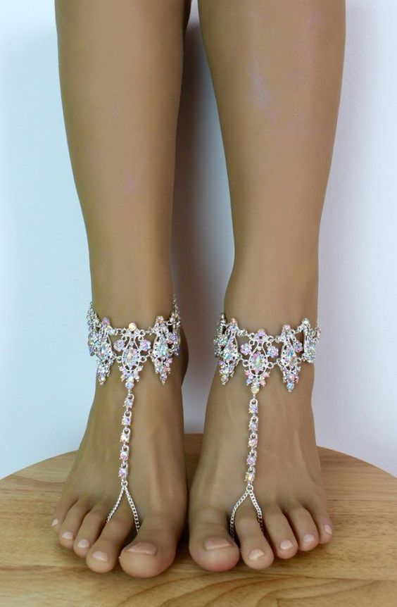 3702a7d2d Amira aurora borealis barefoot sandals with crystal ankle cuff