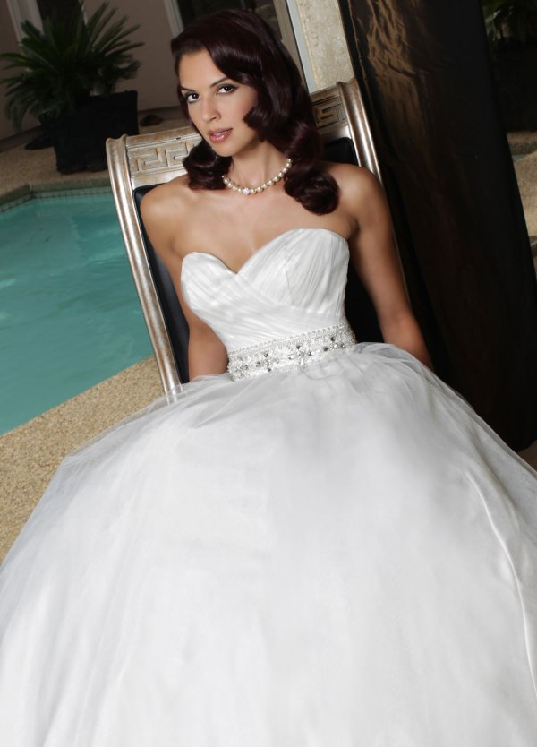 5756a93403a DaVinci Bridal Style  50173  Tulle A-Line Ball Gown Wedding Dress. Fitted  Ruched Tulle Bodice