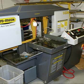 "Hyd-Mech Automatic band saw with 13"" cutting capacity (any length material)"