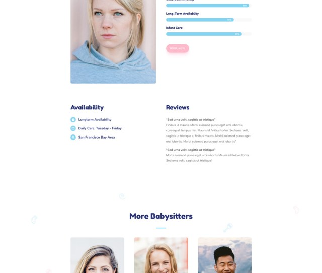 Babysitter Layout Pack Profile Page
