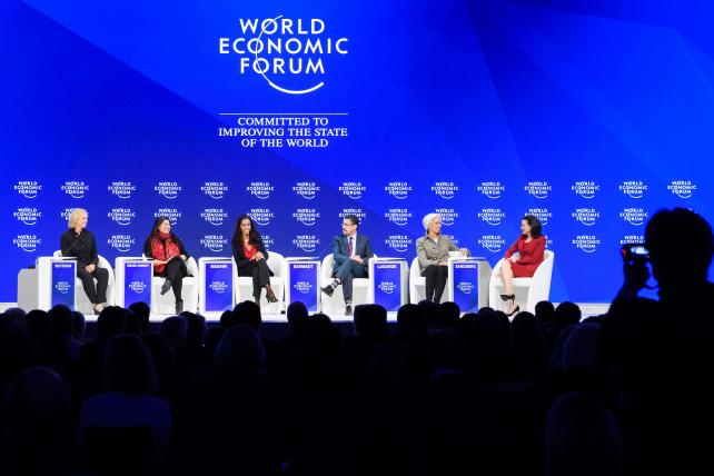 (From L) Hewlett Packard Chaiman and CEO Meg Whitman, Documentary film-maker Sharmeen Obaid-Chinoy, BBC World News presenter Zeinab Badawi, Afghanistan National Institute of Music founder Ahmad Sarmast, International Monetary Fund managing director Christine Lagarde and Facebook Chief Operating Officer Sheryl Sandberg attend a session on the second day of the World Economic Forum last month in Davos.