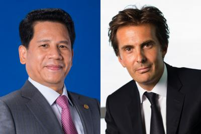 (From l.) Chen Tianlong, chairman of GIMC, and Yannick Bolloré, Havas Group CEO