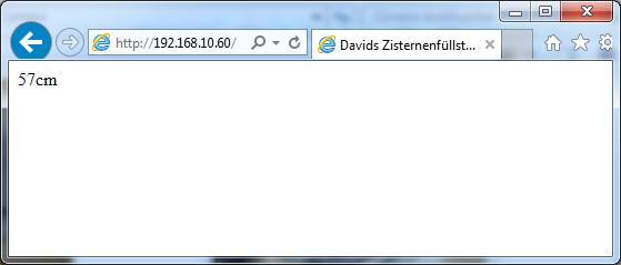 Output Ausgabe Webserver Homepage Zentimeter Distanz