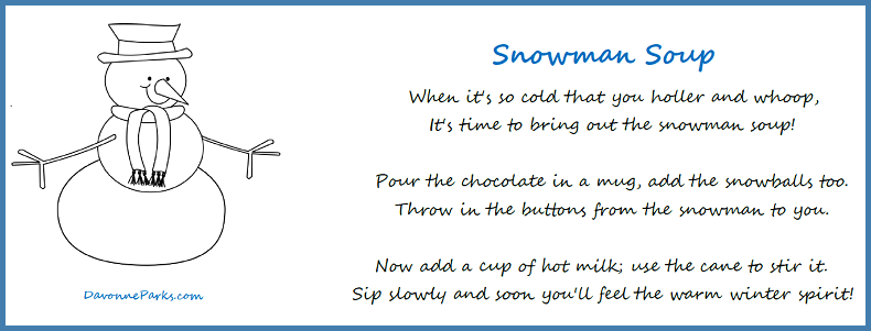 picture relating to Snowman Soup Poem Printable identified as Totally free Snowman Soup Poem Printable - Davonne Parks
