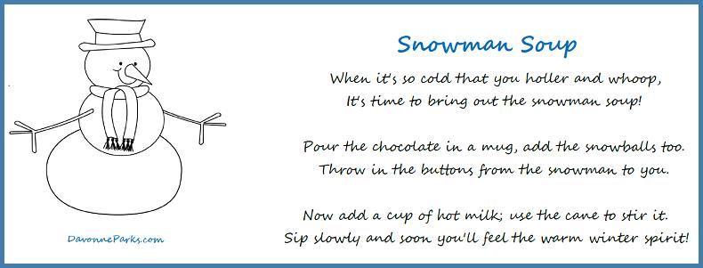 graphic regarding Snowman Soup Free Printable named Totally free Snowman Soup Poem Printable - Davonne Parks