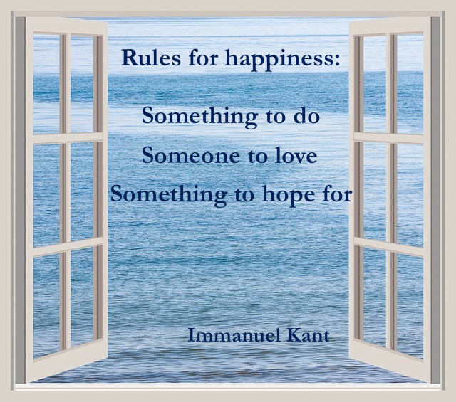 Rules for happiness written in the open window