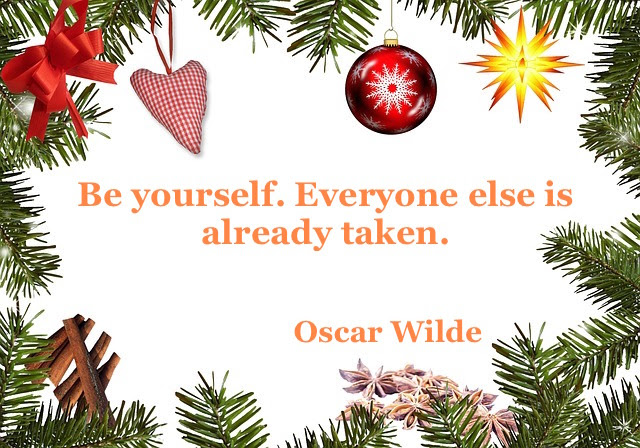 quote and Christmas decorations