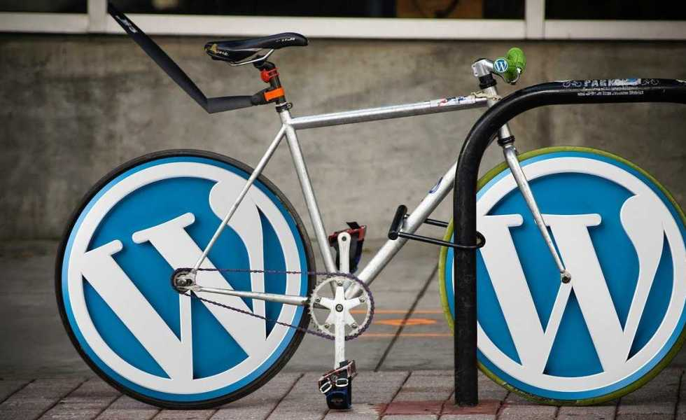 A bicycle with WordPress logo wheels
