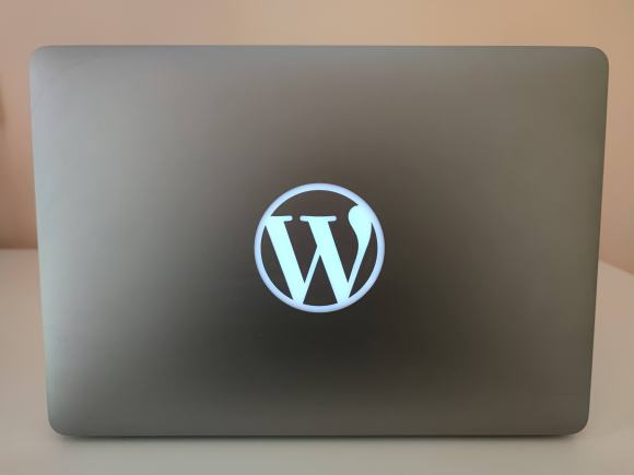 WordPress laptop, a gift from Automattic