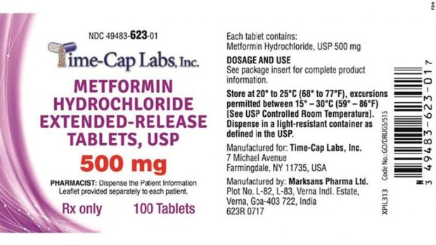 METFORMIN RECALL FOR CANCER CAUSING AGENTS