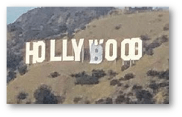 HOLLYWOOD OR HOLLYBOOB AT THE FAMOUS SIGN