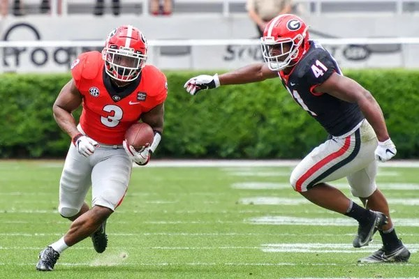 Georgia running back Zamir White Georgia  during the 2021 G-Day Game at Sanford Stadium in Athens, Ga., on Saturday, April 17, 2021.  (photo by Rob Davis)