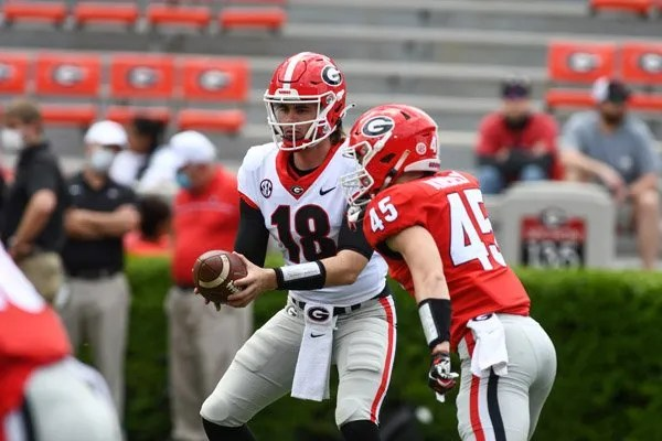 Georgia quarterback JT Daniels (18)  during the 2021 G-Day Game at Sanford Stadium in Athens, Ga., on Saturday, April 17, 2021.  (photo by Rob Davis)