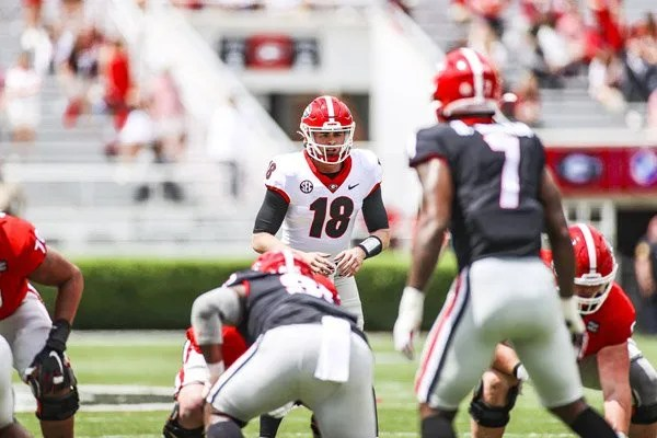 Georgia quarterback JT Daniels (18) during the G-Day scrimmage on Dooley Field at Sanford Stadium in Athens, Ga., on Saturday, April 17, 2021. (Photo by Tony Walsh)
