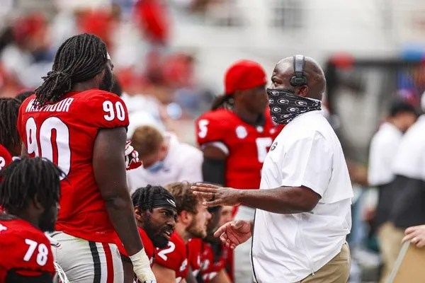 Georgia defensive line coach Tray Scott during the G-Day scrimmage on Dooley Field at Sanford Stadium in Athens, Ga., on Saturday, April 17, 2021. (Photo by Tony Walsh)
