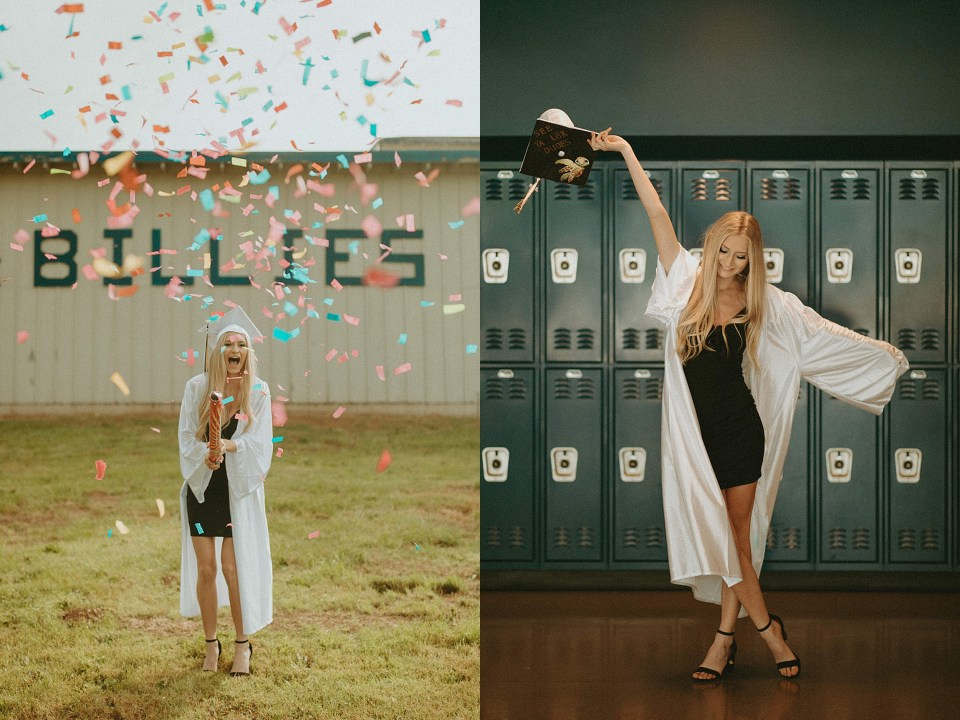 senior in her cap and gown