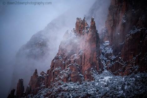 Fresh snow has fallen during autumn at Zion National Park