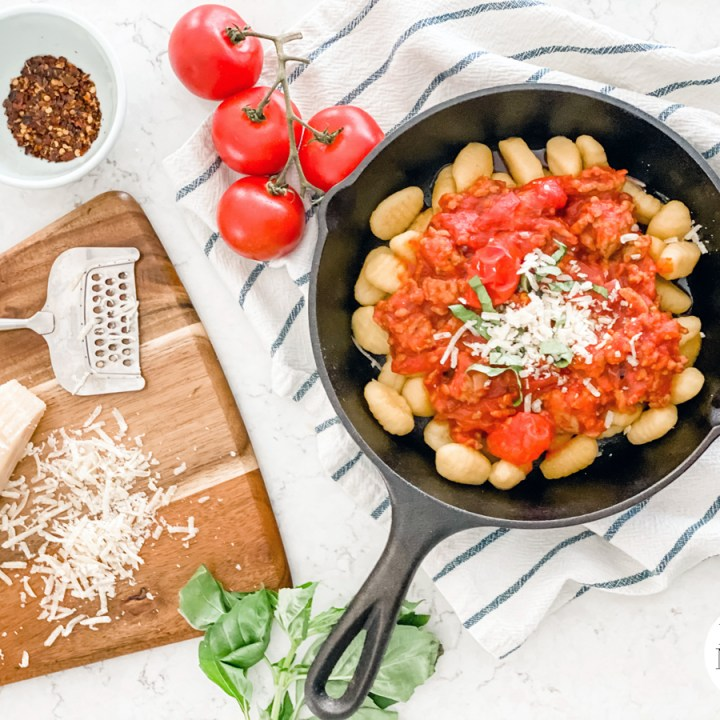 Easy Sausage Ragu with Gnocchi. This comfort meal is easy enough for a weeknight yet delicious enough to serve dinner guests!