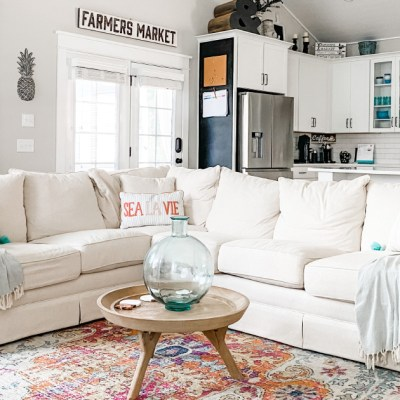 Coastal Farmhouse Style Living Room. This airy room mixes Modern Farmhouse and Coastal elements that create a relaxing living space.