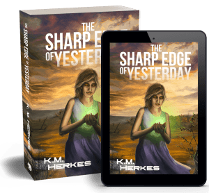 paperback and ebook covers for The Sharp Edge of Yesterday. Cover image of a woman in a sleeveless lavender dress holding a green glow in her cupped hands against a prairie landscape at dawn.