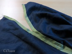 The inside of the skirt before adding the placket or waistband