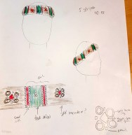 """Concept sketch for my Italian """"padded roll"""" style of hat, based on my inspiration painting"""