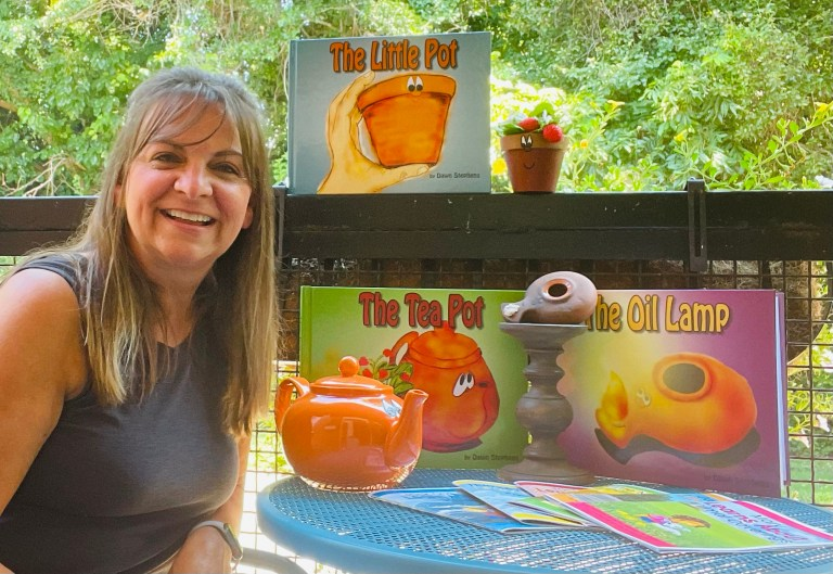 author and illustrator, Dawn Stephens with children's books:: The Little Pot, The Tea Pot, and The Oil Lamp