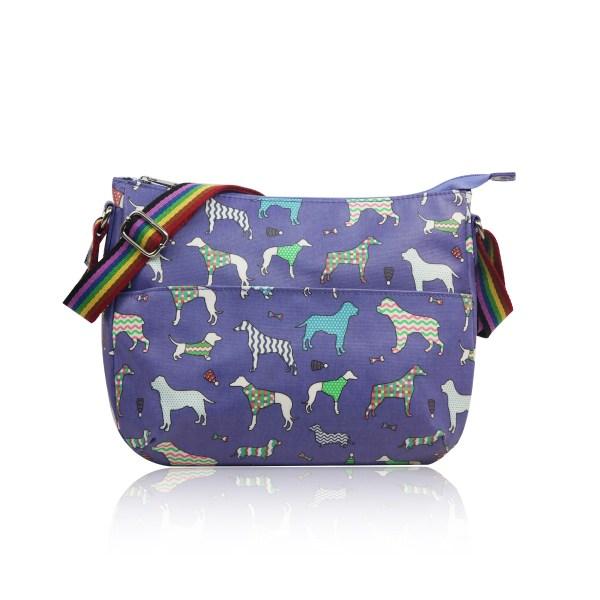 Dog Print Multi-Purpose Cross Body Purple Bag 1