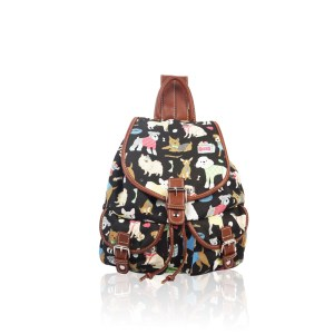 Mixed-Dog Print Retro Rucksack Black