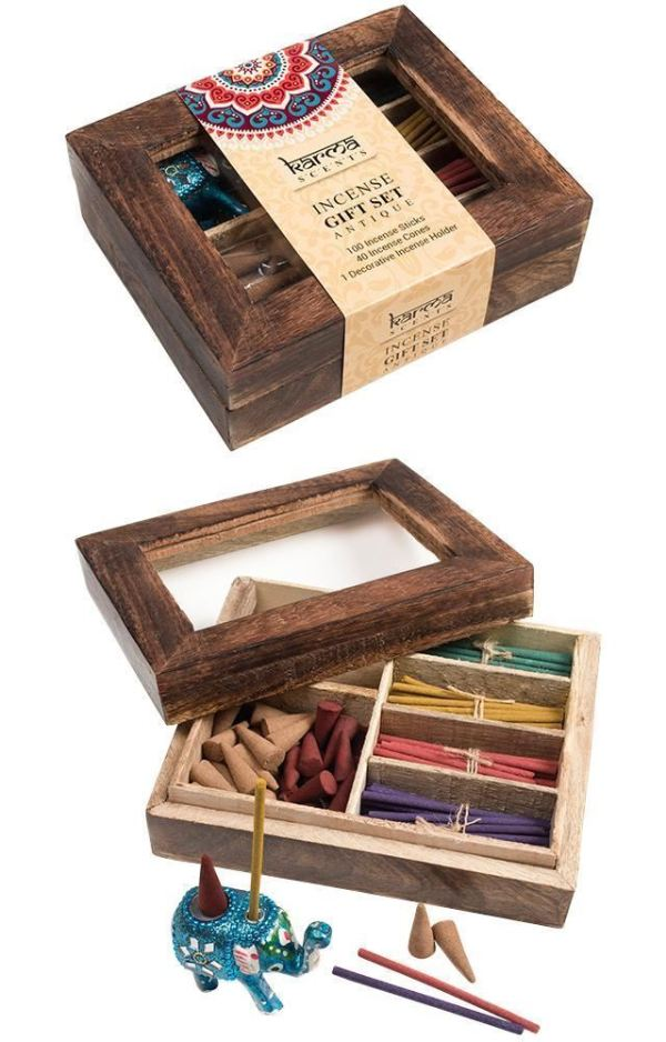Karma Scents Incense Gift Set In A Wooden Display Box (One Size) (Brown)