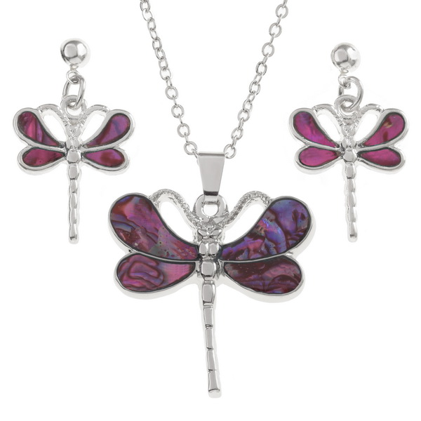 Tide Jewellery Inlaid Pink Paua Shell Dragonfly Necklace & Earring Set in a Box