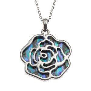 "Tide Jewellery inlaid Paua shell rose pendant with Paua shell on the reverse, on 18"" trace chain. Comes in Tide Jewellery presentation box with stand up insert. Pendant 32mm."