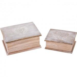 PAIR OF WOODEN VINTAGE LOOKING TRINKET BOXES
