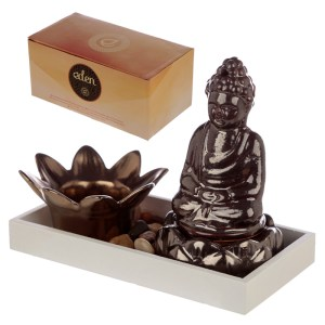 Eden Aroma Set Buddha & Lotus Candle & Incense Cone Burner
