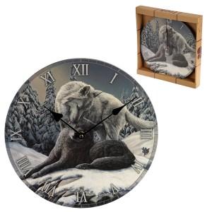 Decorative Fantasy Snow Kisses Wolf Wall Clock