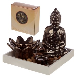 Eden Aroma Set Buddha & Lotus Candle & Incense Burner