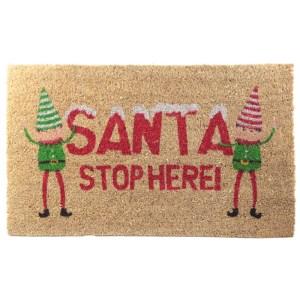 Coir Door Mat - SANTA STOP HERE! Christmas Elf