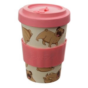 Bamboo Composite Mopps Pug Reusable Screw Top Travel Mug