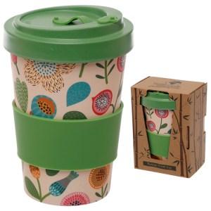 Bamboo Eco Friendly Autumn Floral Design Screw Top Travel Mug