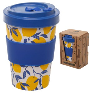 Bamboo Eco Friendly Lemons Design Screw Top Travel Mug