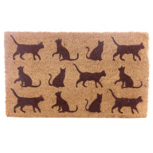Coir Door Mat - Cats Every home needs a door mat so check out our collection of coir door mats. Made from robust natural coir fibre with a durable rubber backing these will last for ages and withstand the busiest households. With the variety of designs available we know you will find the one for you. Dimensions: Height 1cm Width 75cm Depth 45cm
