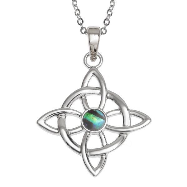 Tide Jewellery inlaid Paua shell Celtic Good Luck symbol pendant