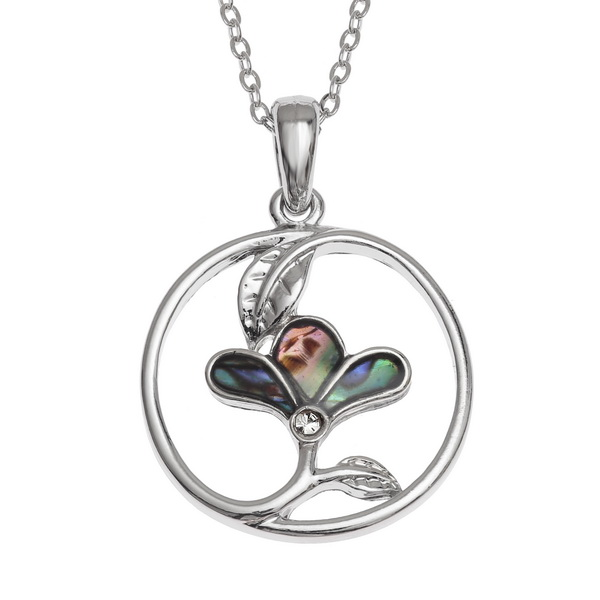 Tide Jewellery inlaid Paua shell circled three petal flower pendant