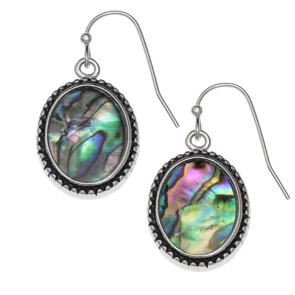 Tide Jewellery inlaid Paua shell oval Cameo shaped hook earrings